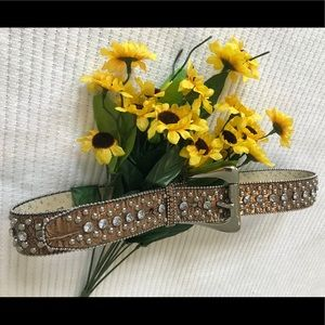 GUESS Studded Animal Print Leather Jeweled Belt